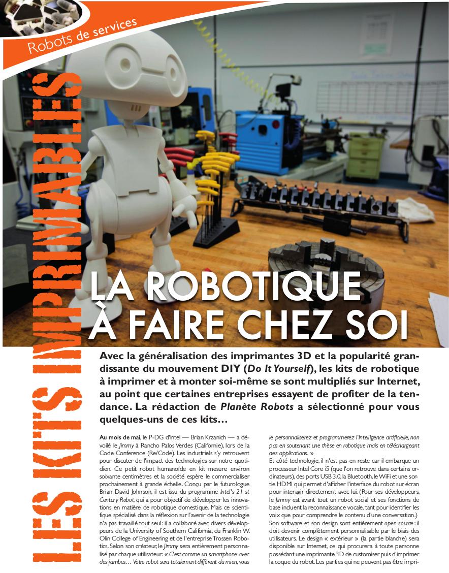 Les kits robotiques imprimables en 3D